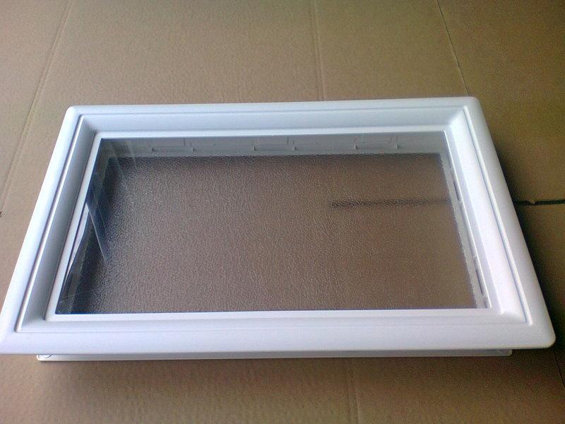 Hublot blanc rectangulaire 1 vitre opaque p 38 45 mm for Rendre une vitre opaque