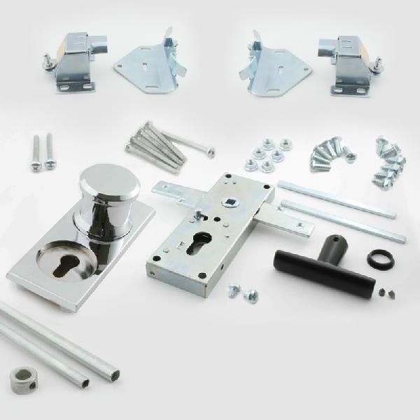 Serrure et poign e complete aluminium chrome abc hublots - Serrure pour porte de garage sectionnelle ...